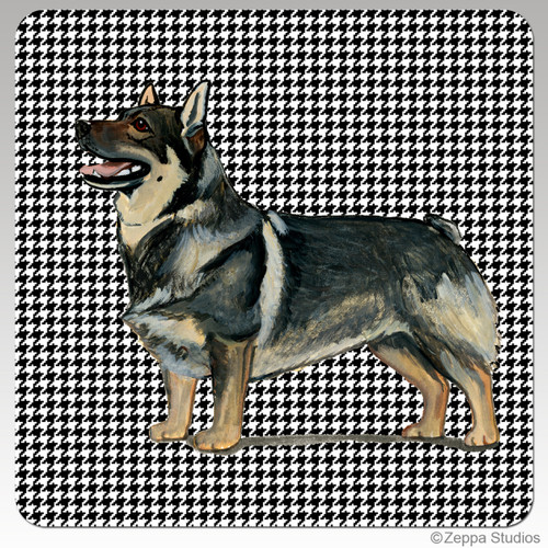 Swdedish Valhund Houndzstooth Coasters - Rectangle