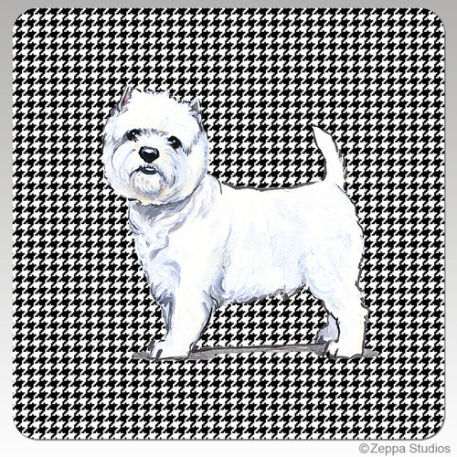 West Highland Terrier Houndzstooth Coasters