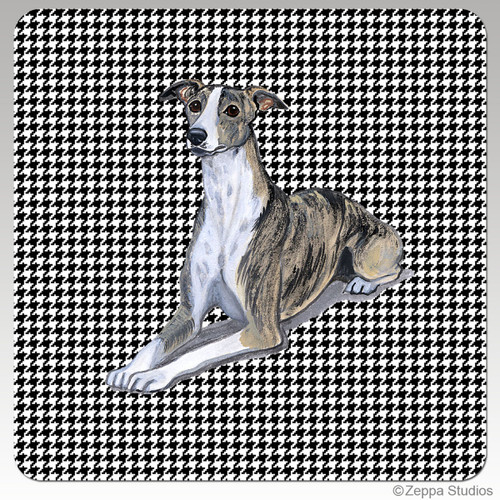 Whippet Houndzstooth Coasters - Rectangle