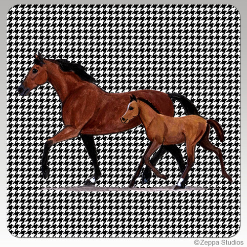 Mare and Foal Houndstooth Coaster