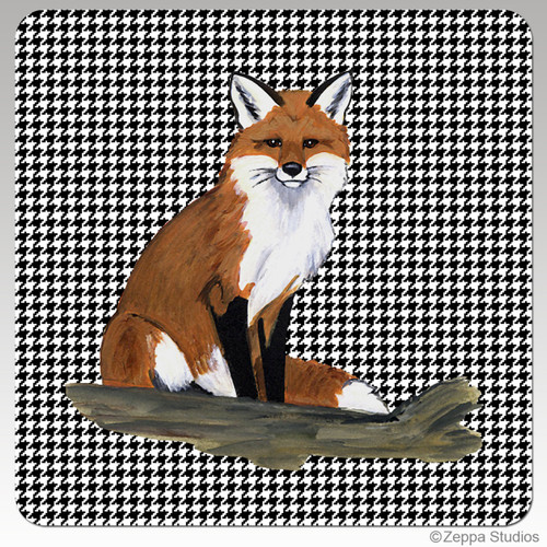 Sitting Fox Houndzstooth Coasters