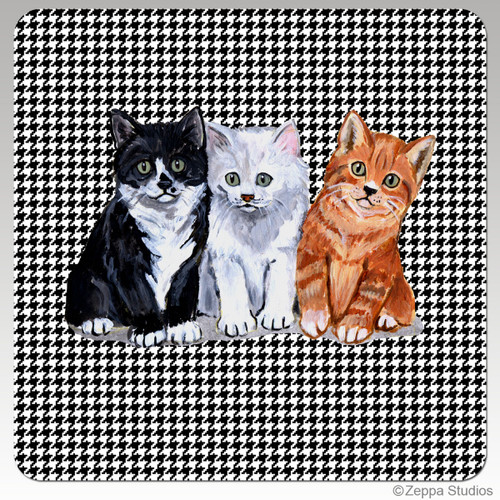 3 Kittens Houndzstooth Coasters