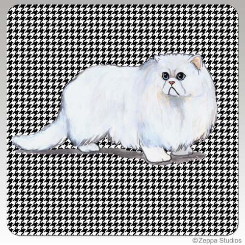 Persian Cat Houndzstooth Coasters