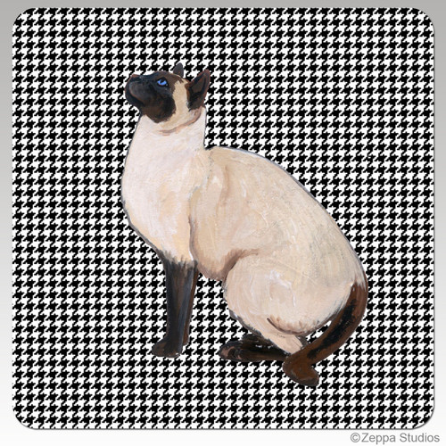 Siamese Cat Houndzstooth Coasters