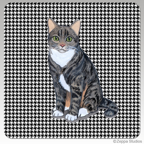 Tabby Cat Houndzstooth Coasters
