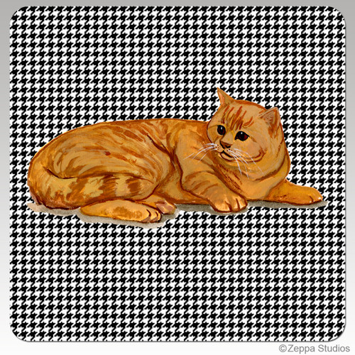 Orange Tabby Cat Houndzstooth Coasters
