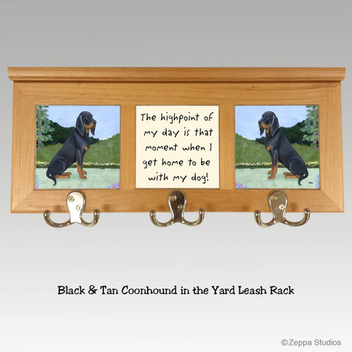 Black and Tan Coonhound Tile Leash Rack