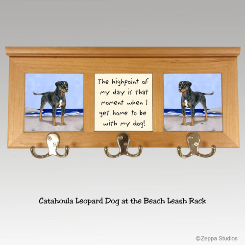 Catahoula Leopard Dog Tile Leash Rack