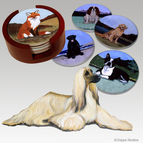 Afghan Hound Bisque Coaster Set