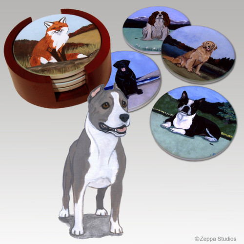American Staffordshire Terrier Bisque Coaster Set