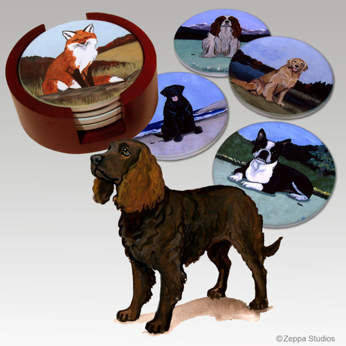 American Water Spaniel Bisque Coaster Set
