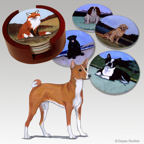 Basenji Bisque Coaster Set