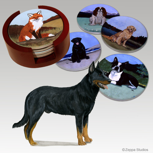 Beauceron Bisque Coaster Set