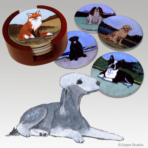 Bedlington Terrier Bisque Coaster Set