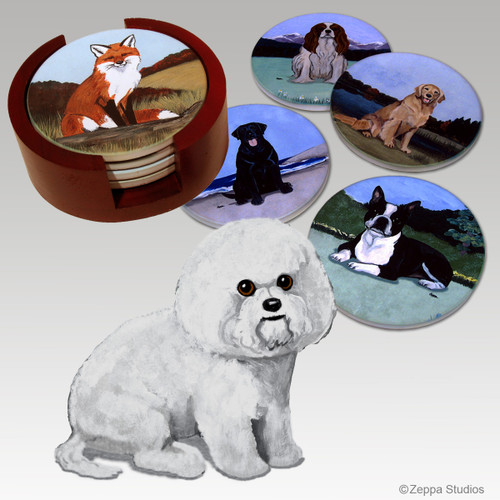 Bichon Frise Bisque Coaster Set