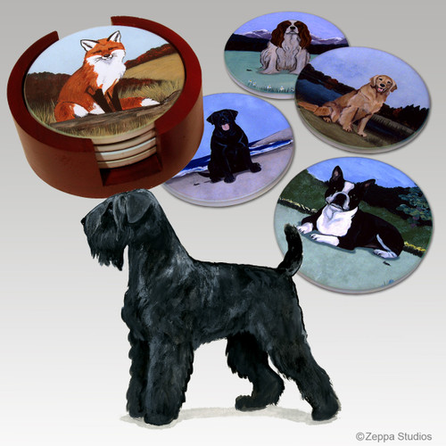 Black Russian Terrier Bisque Coaster Set