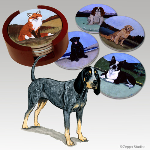 Bluetick Coonhound Bisque Coaster Set