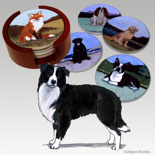 Border Collie Bisque Coaster Set