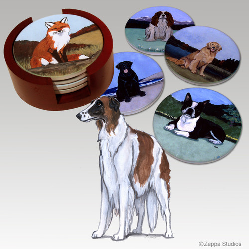 Borzoi Bisque Coaster Set