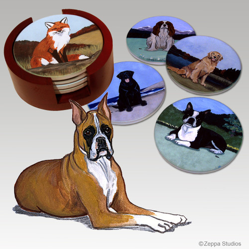 Boxer Bisque Coaster Set