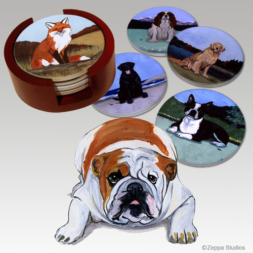 Bulldog Bisque Coaster Set
