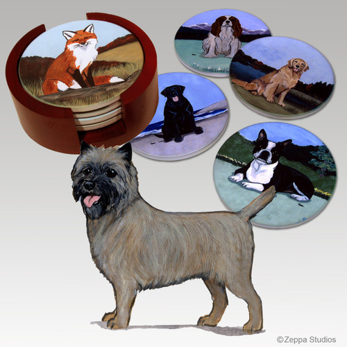 Cairn Terrier Bisque Coaster Set