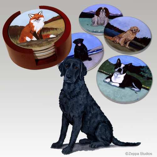 Curly Coated Retriever Bisque Coaster Set