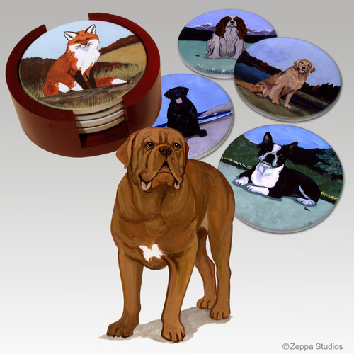 Dogue de Bordeaux Bisque Coaster Set