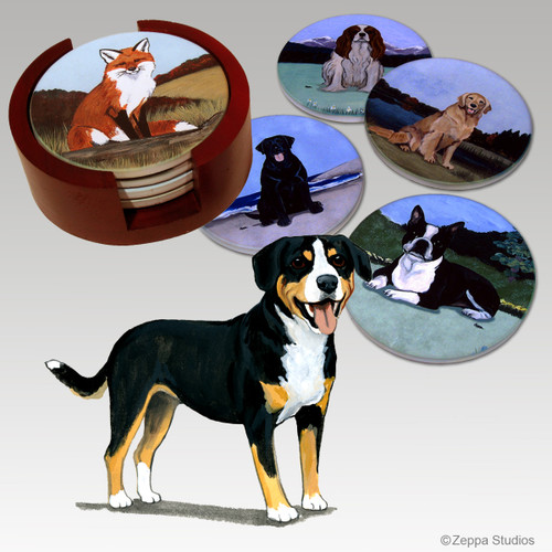 Entelbucher Mountain Dog Bisque Coaster Set