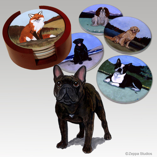 French Bulldog Bisque Coaster Set