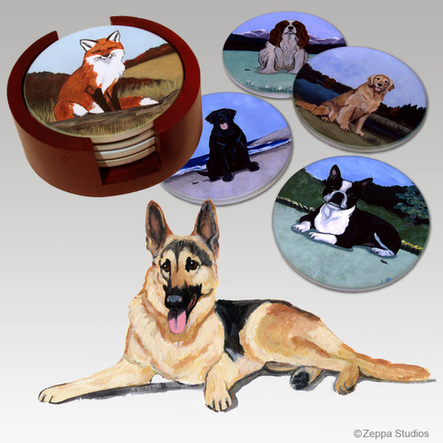 German Shepherd Bisque Coaster Set