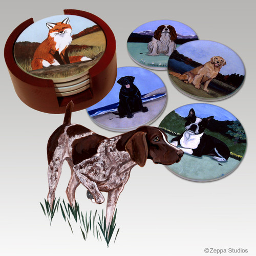 German Shorthair Pointer Bisque Coaster Set