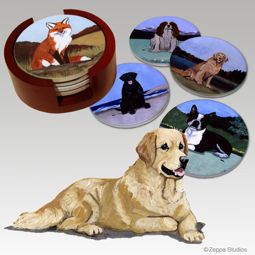 Golden Retriever Bisque Coaster Set