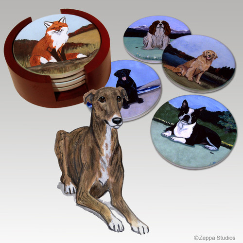 Greyhound Bisque Coaster Set