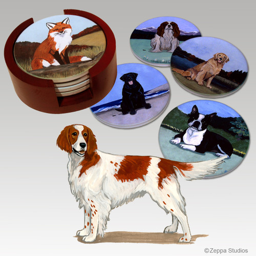 Irish Red & White Setter Bisque Coaster Set