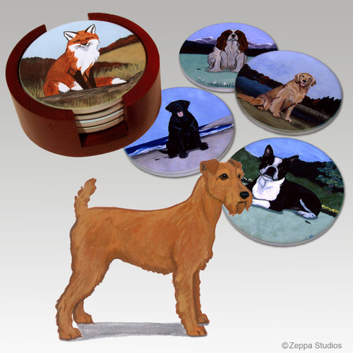 Irish Terrier Bisque Coaster Set