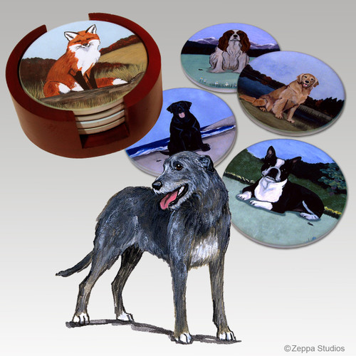 Irish Wolfhound Bisque Coaster Set