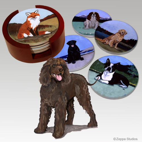 Irish Water Spaniel Bisque Coaster Set
