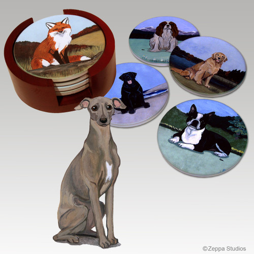 Italian Greyhound Bisque Coaster Set