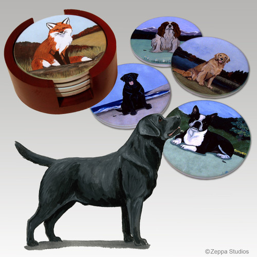 Labrador Retriever, Black Bisque Coaster Set