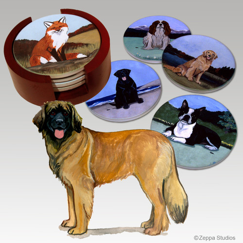 Leonberger Bisque Coaster Set