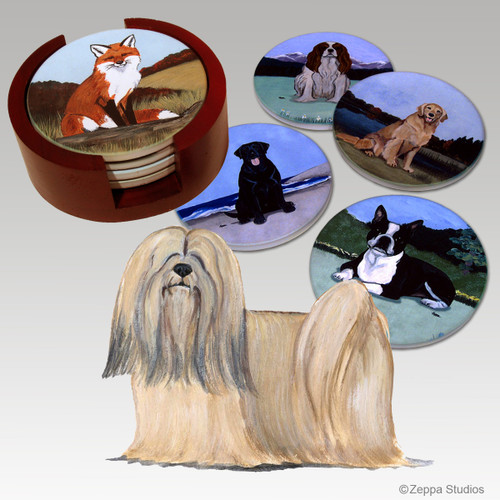Lhasa Apso Bisque Coaster Set
