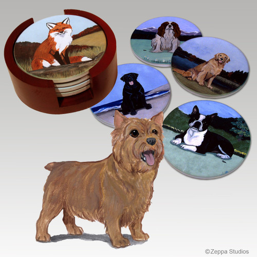 Norwich Terrier Bisque Coaster Set