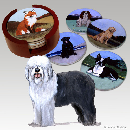 Old English Sheepdog Bisque Coaster Set