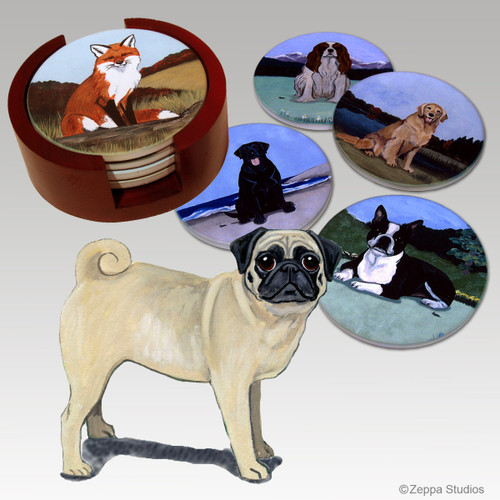 Pug Bisque Coaster Set