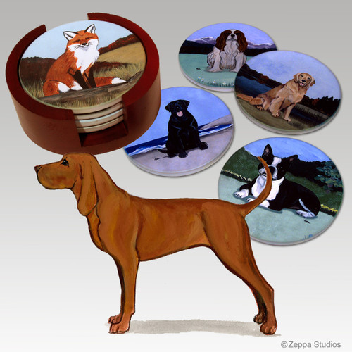 Redbone Coonhound Bisque Coaster Set