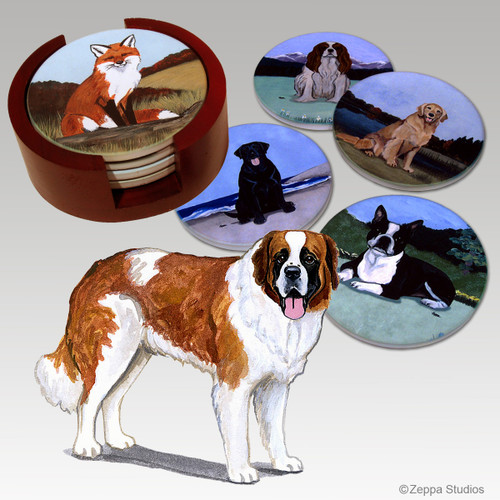 Saint Bernard Bisque Coaster Set