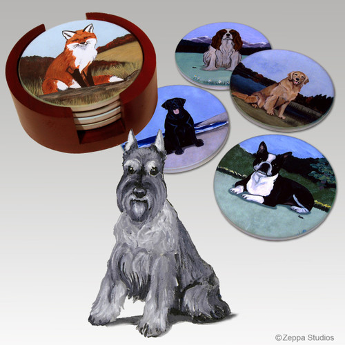 Schnauzer Bisque Coaster Set
