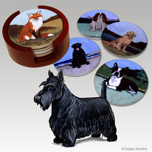 Scottish Terrier Bisque Coaster Set