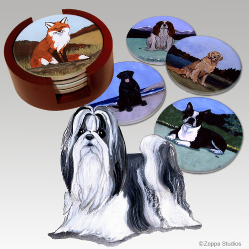Shih Tzu Bisque Coaster Set